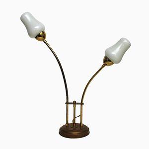 Lampe de Bureau Vintage en Laiton et Verre Blanc, 1970s