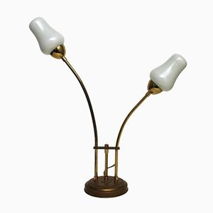 Vintage Brass and Milk Glass Table Lamp, 1970s