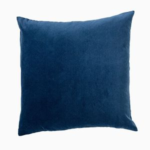 Grand Coussin en Velours Bleu Marine de Ceraudo