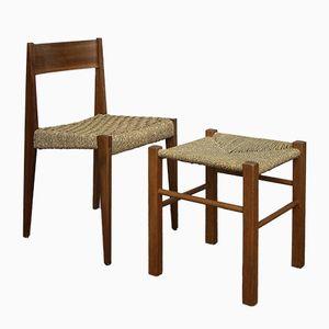 Stuhl mit Hocker von Martha Villiger für Horgenglarus, 1950er