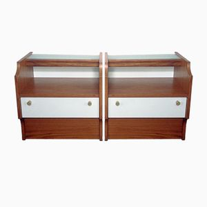 Brown & White Night Stands, 1970s, Set of 2