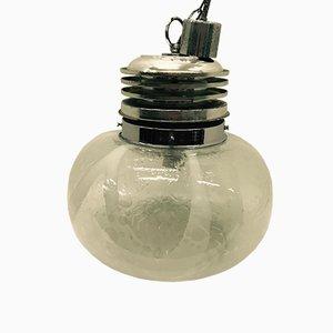 Lampe à Suspension en Verre de Murano & Plastique Chromé, 1960s
