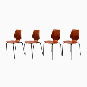 Mid-Century Danish Teak Plywood Chairs, Set of 4
