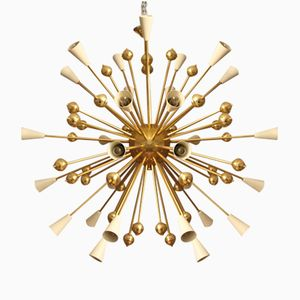 White Steel & Brass Sputnik Chandelier, 1970s