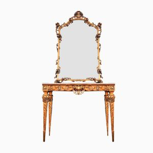 Italian Gilt Wood & Marble Console with Mirror, 1950s
