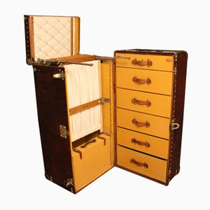 Large Leather Wardrobe Steamer Trunk from Louis Vuitton, 1900s