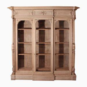 Englischer Bauernhaus Bücherschrank aus Gebleichter Eiche, 1860er