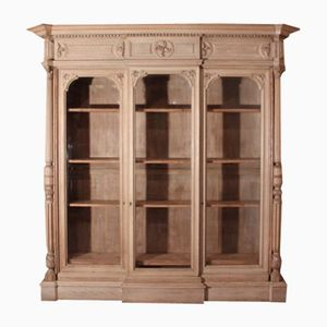 English Country House Bleached Oak Bookcase, 1860s