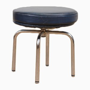 Vintage LC 8 Leather Stool by Le Corbusier, Jeanneret, and Perriand for Cassina