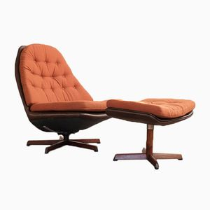 Vintage Lounge Chair and Ottoman by Madsen & Schübell
