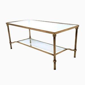 Table Basse à Deux Niveaux en Laiton & Verre, Italie, 1950s