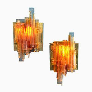 Model 1004 Danish Orange Acrylic Wall Lights by Claus Bolby for Cebo Industri, 1970s, Set of 2