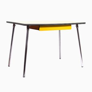 Vintage Yellow Formica Dining Table with Chrome Legs