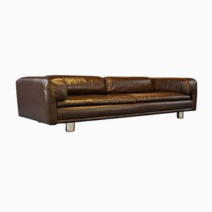 HK Diplomat Large Brown Leather Sofa from Howard Keith, 1970s