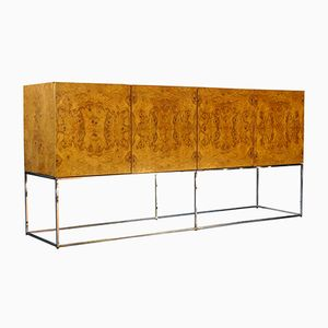 Mid-Century Burl Wood Credenza on a Floating Chrome Base by Milo Baughman for Thayer Coggin, 1960s