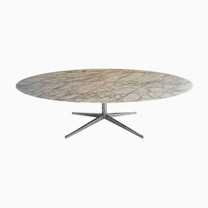 Mid-Century White Calacatta Oval Marble Dining Table from Knoll