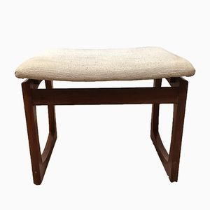 Mid-Century Afrormosia Quadrille Dressing Table Stool with Cream Seat by R. Bennett for G-Plan, 1967
