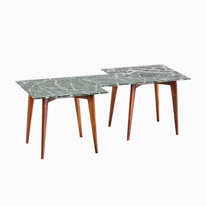 Geometric Italian Coffee Table with Green Marble Top