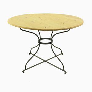 Table de Salle à Manger Vintage Ronde avec Base en Métal