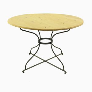 Vintage Round Dining Table with a Metal Base