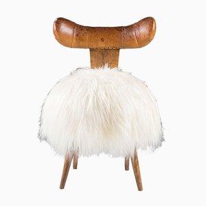 Skandinavischer Mid-Century Stuhl aus Leder mit Schafsfell, 1950er