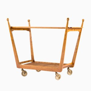 Swedish Birch and Glass Serving Trolley, 1940s
