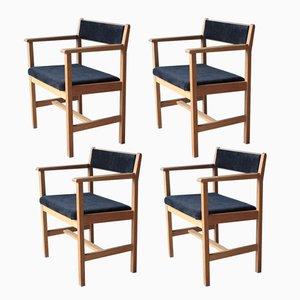 Skandinavische Modell 3242 Esszimmerstühle von Borge Mogensen für Fredericia, 4er Set