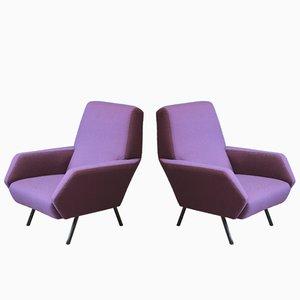 Vintage Italian Metal and Purple Armchairs, 1950s, Set of 2