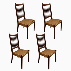 Mid-Century Teak and Cane Chairs, 1960s, Set of 4