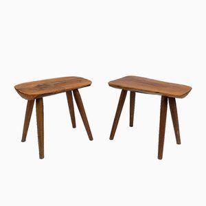 Vintage Hand Carved Occasional Tables, Set of 2