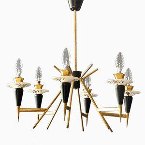 Mid-Century Italian 6-armed Brass Chandelier