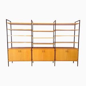 Libreria modulare in quercia chiara e metallo, anni '50