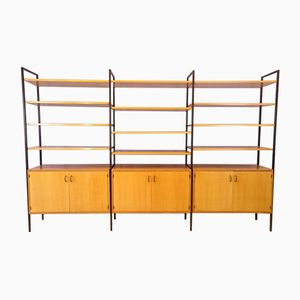 Modular Shelving Unit in Light Oak and Metal, 1950s