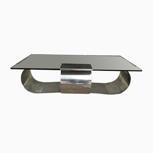Coffee Table in Polished Steel and Smoked Glass by Francois Monnet, 1970s