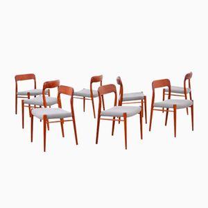 Model 65 Teak Chairs by Niels O. Møller, 1960s, Set of 8