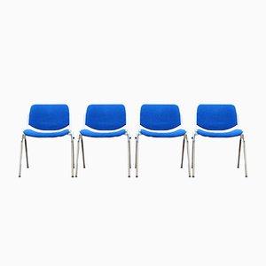 Blaue Italienische Esszimmerstühle von Giancarlo Piretti für Castelli, 1980er, 4er Set