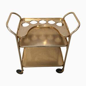 Carrello bar in alluminio dorato, anni '60