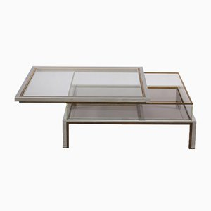 Coffee Table Sliding Top in Brass and Chrome from Maison Jansen, 1970