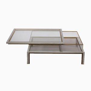 Table Basse avec Plateau Coulissant en Laiton et Chrome de Maison Jansen, 1970