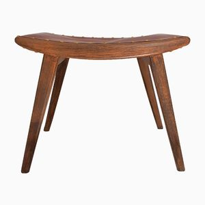 Wood and Leather Stool by Jens Risom for Vostra, 1950s