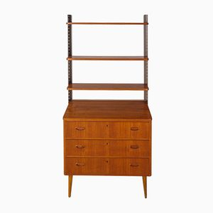 Swedish Chest of Drawers in Teak and Metal with Extensible Top, 1950s