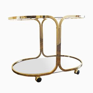 French Vintage Gold Plated Bar Trolley, 1970s