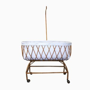 Vintage French Bamboo Crib, 1950s