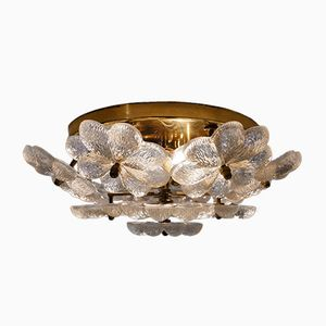 Brass & Glass Flowers Ceiling Light from Ernst Palme, 1970s
