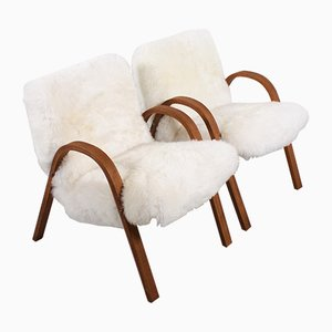 Mid-Century Sheepskin Bow Wood Chairs from Steiner, 1948, Set of 2