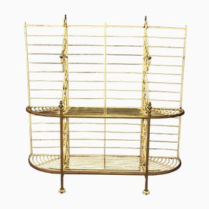 Antique French Metal and Brass Bakers Rack, 1920s