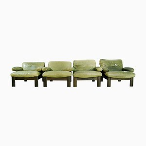 Grünes Vintage Wohnzimmerset aus Leder
