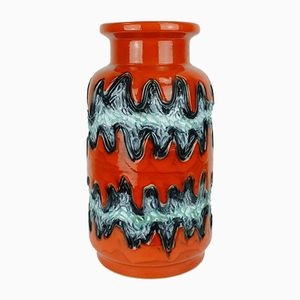 Vintage Model 690/40 Vase in Orange with Abstract Pattern from Duemler & Breiden