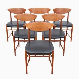 Dänische Mid-Century Modell 317 Stühle von Hvidt & Mølgaard-Nielsen für Søborg Møbelfabrik, 1958, 6er Set