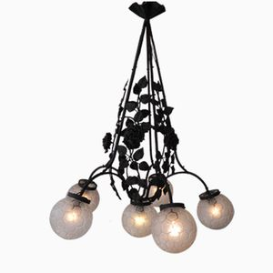 Art Deco Pendant Lamp with Six Mat Glass Balls & Steel Frame with Flower Ornaments, 1930s